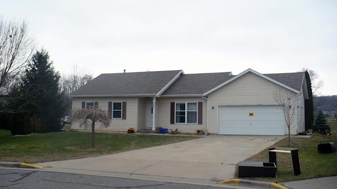 This Nov. 26, 2012 photo shows the residence in Mazomanie, Wis. where prosecutors say Jeffrey Vogelsberg beat and tortured to death his autistic half-brother, Matthew Granvile, in July in the bathroom of the house he shared with Robert McCumber. McCumber is charged with helping bury Graville's body. Vogelsberg faces an extradition hearing in Washington state on Thursday, Dec. 6, 2012  on a homicide charge. (AP Photo/Todd Richmond)