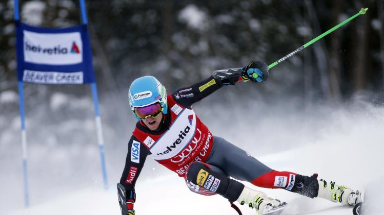 Ligety of the U.S. skis during the second run on his way to winning the Men's World Cup Giant Slalom ski race in Beaver Creek