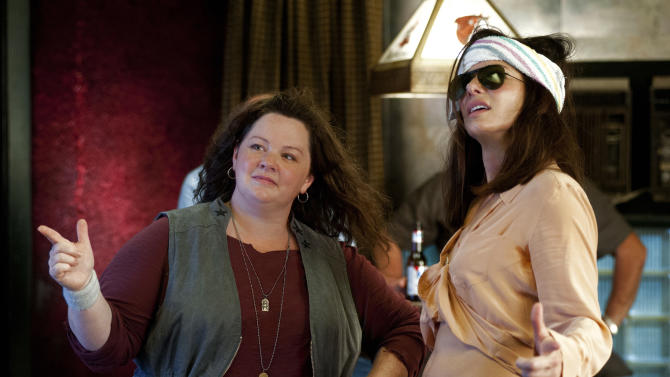 "This publicity photo released by Twentieth Century Fox shows Melissa McCarthy, left, as Detective Shannon Mullins, and Sandra Bullock as FBI Special Agent Sarah Ashburn, in a scene from the film, ""The Heat."" The movie releases June 28, 2013. (AP Photo/Twentieth Century Fox, Gemma La Mana)"