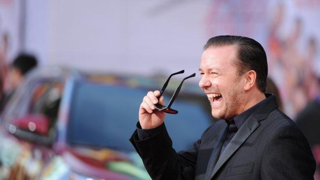 Ricky Gervais arrives for the world premiere of Disney's 'Muppets Most Wanted,' March 11, 2014 at El Capitan Theatre in Hollywood -- Getty Images