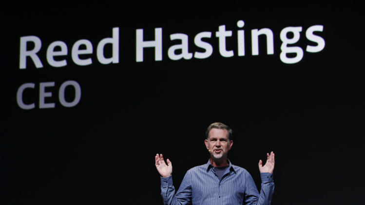 FILE - In this Thursday, Sept. 22, 2011, file photo, Netflix CEO Reed Hastings gestures during the Facebook f/8 conference in San Francisco. Netflix CEO Reed Hastings announced Tuesday, Oct. 9, 2012, that he is stepping down from Microsoft's board of directors next month. Hastings says he will end his five-and-half-year stint on the software maker's board to concentrate on running Netflix Inc. at a time the video subscription service is facing an assortment of challenges threatening its future growth. (AP Photo/Paul Sakuma)