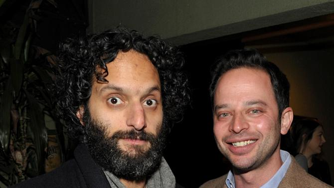 """Actor Jason Mantzoukas, left, and actor/comedian Nick Kroll attend an exclusive screening of Comedy Central's """"Kroll Show"""" hosted by Entertainment Weekly on Tuesday, January 15, 2013 at LA's Silent Movie Theatre in Los Angeles. (Photo by John Shearer/Invision for Entertainment Weekly/AP Images)"""
