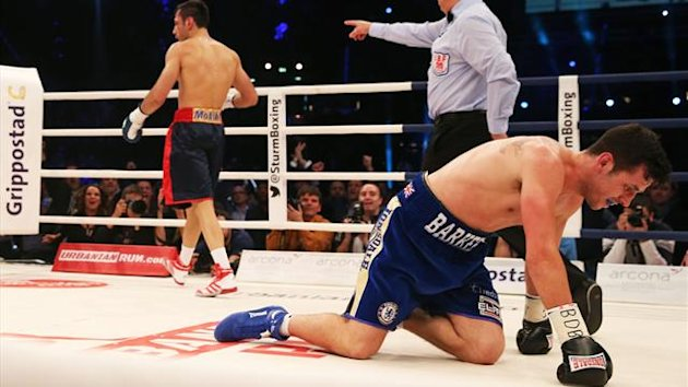 Darren Barker dislocates hip as he loses title to Sturm