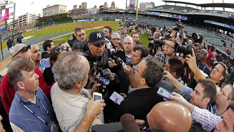 New York Yankees' Alex Rodriguez responds to a question from the news media before Game 4 of the American League championship series against the Detroit Tigers Wednesday, Oct. 17, 2012, in Detroit. (AP Photo/Charlie Riedel)