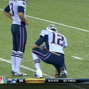 New England Patriots quarterback Tom Brady in as holder for extra point