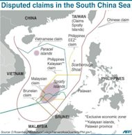 Graphic showing contending claims in the South China Sea. APEC giants China and Japan, along with South Korea, Russia and others are embroiled in various disputes that have fanned nationalist flames