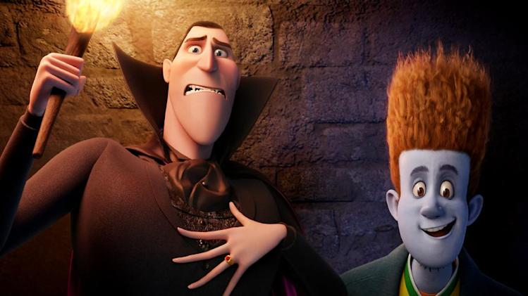 "This film image released by Sony pictures shows Dracula, voiced by Adam Sandler, left, and Johnnystein, voiced by Andy Samberg in a scene from ""Hotel Transylvania."" (AP Photo/Sony Pictures)"