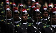 Sri Lankan cadets march at a ceremony for the graduation of 140 new army officers in July 2012. Sri Lanka on Tuesday announced it would raise defence spending by over 25 percent in 2013, more than three years after security forces ended a decades-long separatist war with Tamil rebels