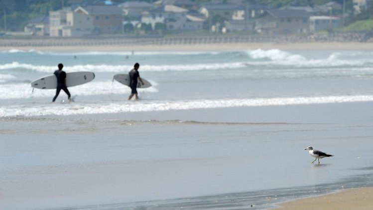 People walk out of the sea with on Toyoma Beach, some 50 kilometres south of the Fukushima plant, on August 24, 2013