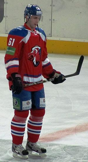 Erik Christensen on the ice for Lev Prague during a KHL game (#NickInEurope)