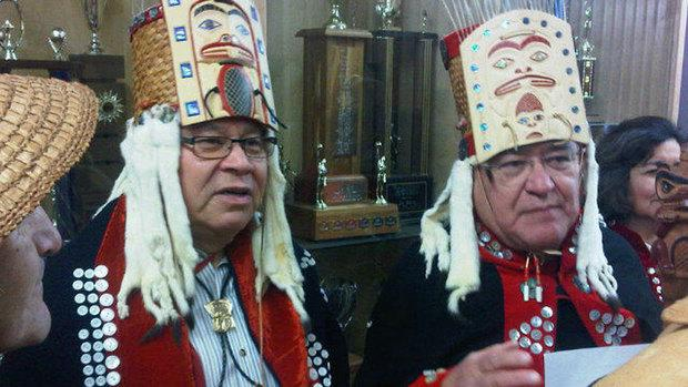 Haisla dancers prepare for the Northern Gateway hearings to begin on Tuesday.