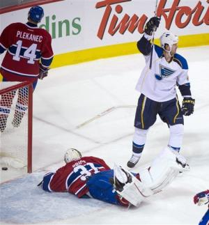 Blues' Halak gets shutout in return to Montreal