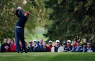 Phil Mickelson tees off from the 4th. The United States were leading Europe 5-3 after the first day of the Ryder Cup at Medinah Country Club