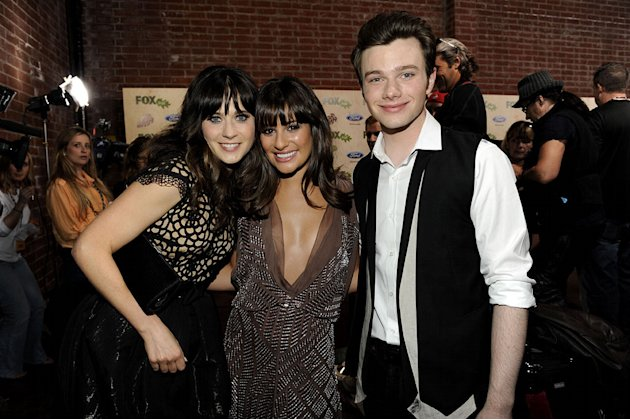 Zooey Deschanel (&quot;New Girl&quot;) with Lea Michele and Chris Colfer of &quot;Glee&quot; at the 2011 Fox Fall Eco-Casino Party at The BookBindery on September 12, 2011 in Culver City, California. 
