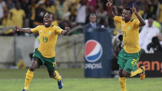 South Africa's May Mahlangu (19) celebrates his goal against Morocco during their African Nations Cup Group A match in Durban