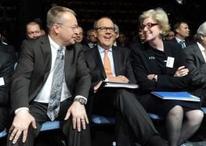 File photo shows Nokia's Chief Executive Elop, Chairman of the Board Ollila, and Vice Chairman Scardino in Helsinki