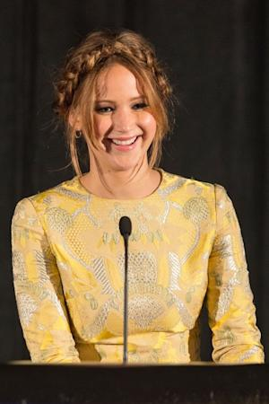 Jennifer Lawrence receives the award for Best Actress on stage at the 38th Annual Los Angeles Film Critics Association Awards held at the InterContinental Hotel, Century City, Calif., on January 12, 2013 -- Getty Images