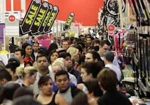 A crowd of shoppers browse at Target on the Thanksgiving Day holiday in Burbank, California