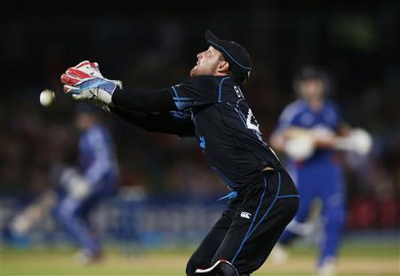 Brendon McCullum of New Zealand drops a catch against England during the second cricket match of their one-day international series at McLean Park in Napier