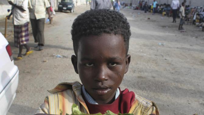 In this photo taken Sunday July 15, 2012 Isaq Abdi's young brother Ahmed Abdi, 7, bargains with a customer to sell twigs of Khat he collected from the ground to buy food. Ten-year-old Isaq Abdi works 15 hours a day. His pay: A handful of half-chewed khat sticks that he sells for $1. Somalia's new constitution bans child labor and provides new rights to protect Somalia's young, but children here must work to survive, calling into question how soon those new rights will actually materialize. (AP Photo/Farah Abdi Warsameh)