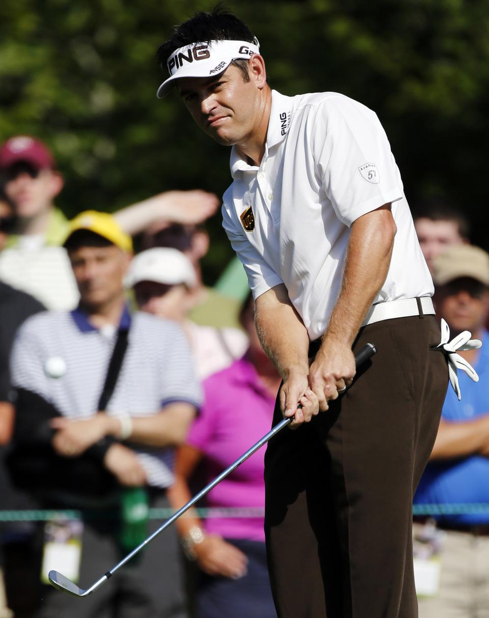 Louis Oosthuizen, of South Africa, chips onto the seventh green during the third round of the Deutsche Bank Championship PGA golf tournament at TPC Boston in Norton, Mass., Sunday, Sept. 2, 2012. (AP Photo/Michael Dwyer)