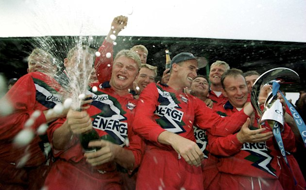 12 Sep 1999:  Andrew Flintoff leads the celebrations The Lancashire team celebrate winning the title after the CGU National Cricket League game between Lancashire Lightning v Kent Spitfires at Lancash
