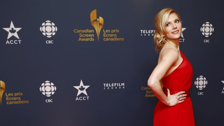 Actress Katheryn Winnick arrives on the red carpet at the 2014 Canadian Screen awards in Toronto