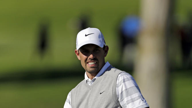 Charl Schwartzel, of South Africa, watches a birdie try miss at the ninth green in the second round of the Northern Trust Open golf tournament at Riviera Country Club in the Pacific Palisades area of Los Angeles Friday, Feb. 15, 2013. (AP Photo/Reed Saxon)