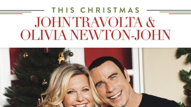 """This CD cover image released by Universal Music Enterprises shows """"This Christmas,"""" a holiday album with John Travolta and Olivia Newton-John. (AP Photo/Universal Music Enterprises)"""
