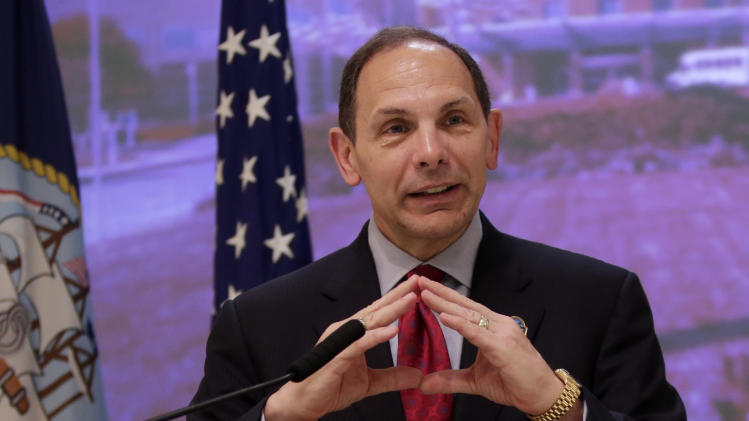 U.S. Secretary of Veterans Affairs Robert McDonald speaks during a news conference a the Palo Alto VA Medical Center on Wednesday, Aug. 20, 2014, in Palo Alto, Calif. (AP Photo/Marcio Jose Sanchez)