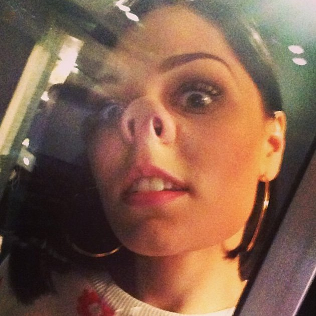 "Celebrity Twitpics: Jessie J was in a playful mood when she posed for this Twitpic. She posted the photo alongside the caption: ""made me do it! I'm in one of those moods... I'm 25 soon but I just LOVE"