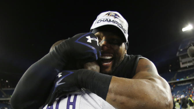 Baltimore Ravens inside linebacker Ray Lewis, right, celebrates with Vonta Leach (44) after the NFL football AFC Championship football game against the New England Patriots in Foxborough, Mass., Sunday, Jan. 20, 2013. The Ravens defeated the Patriots 28-13 to advance to Super Bowl XLVII. (AP Photo/Charles Krupa)