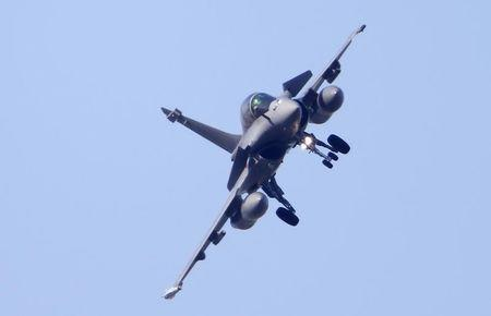 A Rafale fighter jet prepares to land at the air base in Saint-Dizier