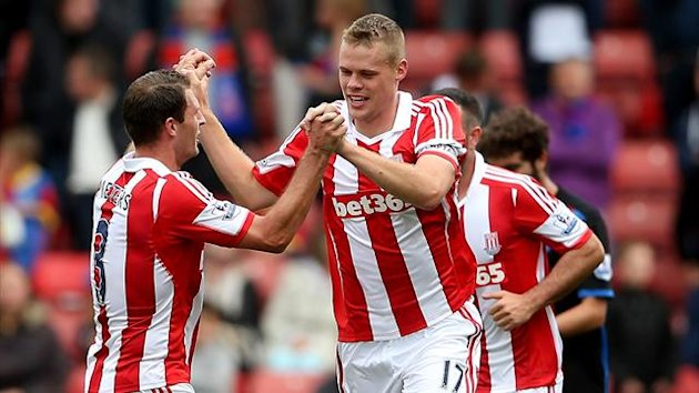 Ryan Shawcross of Stoke celebrates after scoring their second goal during the Barclays Premier League match between Stoke City and Crystal Palace at Britannia Stadium on August 24, 2013 (Getty Images)