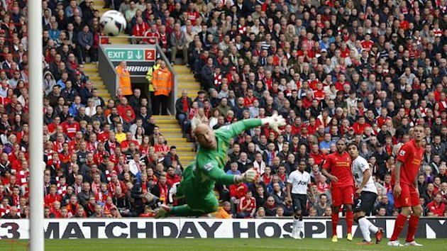 Rafael scores for Manchester United against Liverpool