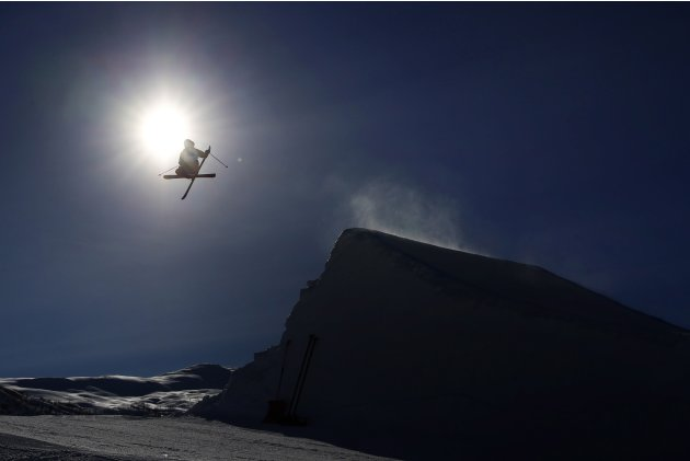 Szczepan Karpiel of Poland competes during qualifications for the men's slopestyle final at the FIS Freestyle World Ski Championships in Voss