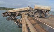 Lorry Crashes And Hangs Off Bridge In Brazil