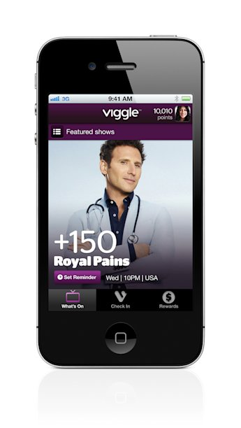 This product image provided by Function Inc., shows the Viggle App for iPhone. When you tap the screen, Viggle's software for iPhones and iPads listens to what's on, recognizes what you're watching and gives you credit at roughly two points per minute. It even works for shows you've saved on a digital video recorder. Rack up 7,500 points, and you'll be rewarded with a $5 gift card from retailers such as Burger King, Starbucks, Apple's iTunes, Best Buy and CVS, which you can redeem directly from your device. (AP Photo/Function Inc.)