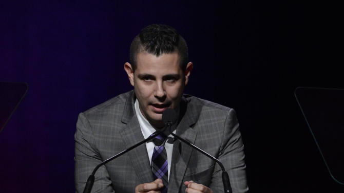 ASCAP Senior Director, Membership - Pop/Rock Marc Emert-Hunter is seen onstage at the 30th Annual ASCAP Pop Music Awards, on Wednesday, April 16, 2013, at Loews Hollywood Hotel in Hollywood, California. (Photo by Phil McCarten/Invision for ASCAP/AP Images)