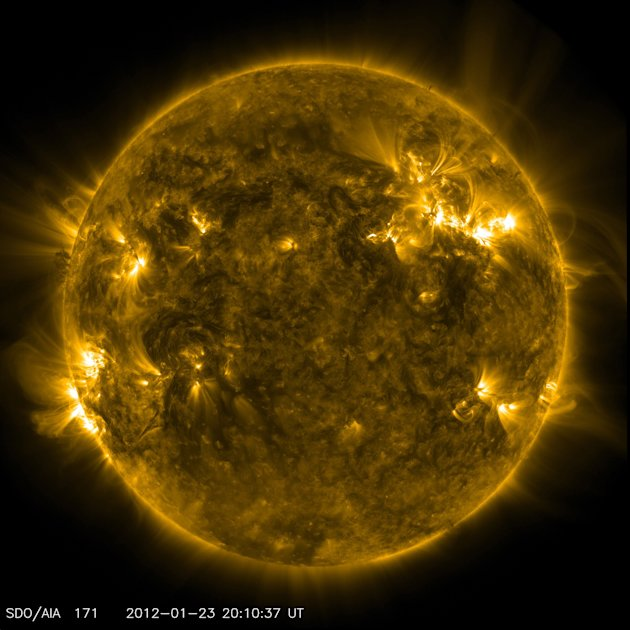 SDO's AIA instrument at 171 Angstrom shows the current conditions of the quiet corona and upper transition region of the Sun as seen in a handout by NASA