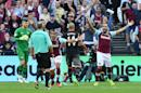 West Ham United's midfielder Dimitri Payet (3rdL) and striker Simone Zaza (R) appeal for a penalty unsuccessfully on September 25, 2016