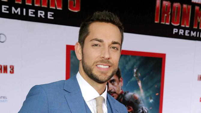 """FILE - This April 24, 2013 file photo shows Zachary Levi  at the world premiere of """"Iron Man 3"""" held at the El Capitan Theatre in Los Angeles. Producers said Monday that Zachary Levi and Krysta Rodriguez will headline the new romantic musical comedy """"First Date"""" by """"Gossip Girl"""" writer Austin Winsberg. """"First Date"""" centers on a successful young investment banker who meets a serial-dater at a local bistro. The show will be seen at The Longacre Theatre beginning July 9.  (Photo by Eric Carbonneau/Invision/AP, file)"""
