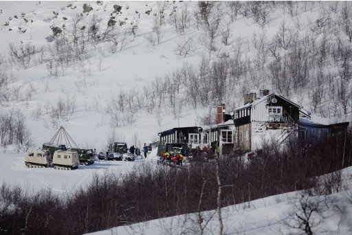 A general view of the Kebnekaise Mountain Lodge in northern Sweden Saturday March 17, 2012 which serves as a base for the search and rescue effort for the missing Hercules C130 cargo aircraft missing since Thursday March 15, 2012. Rescuers have found the wreckage of a Norwegian military plane that crashed with five people on board during an exercise in northern Sweden, officials said Saturday.