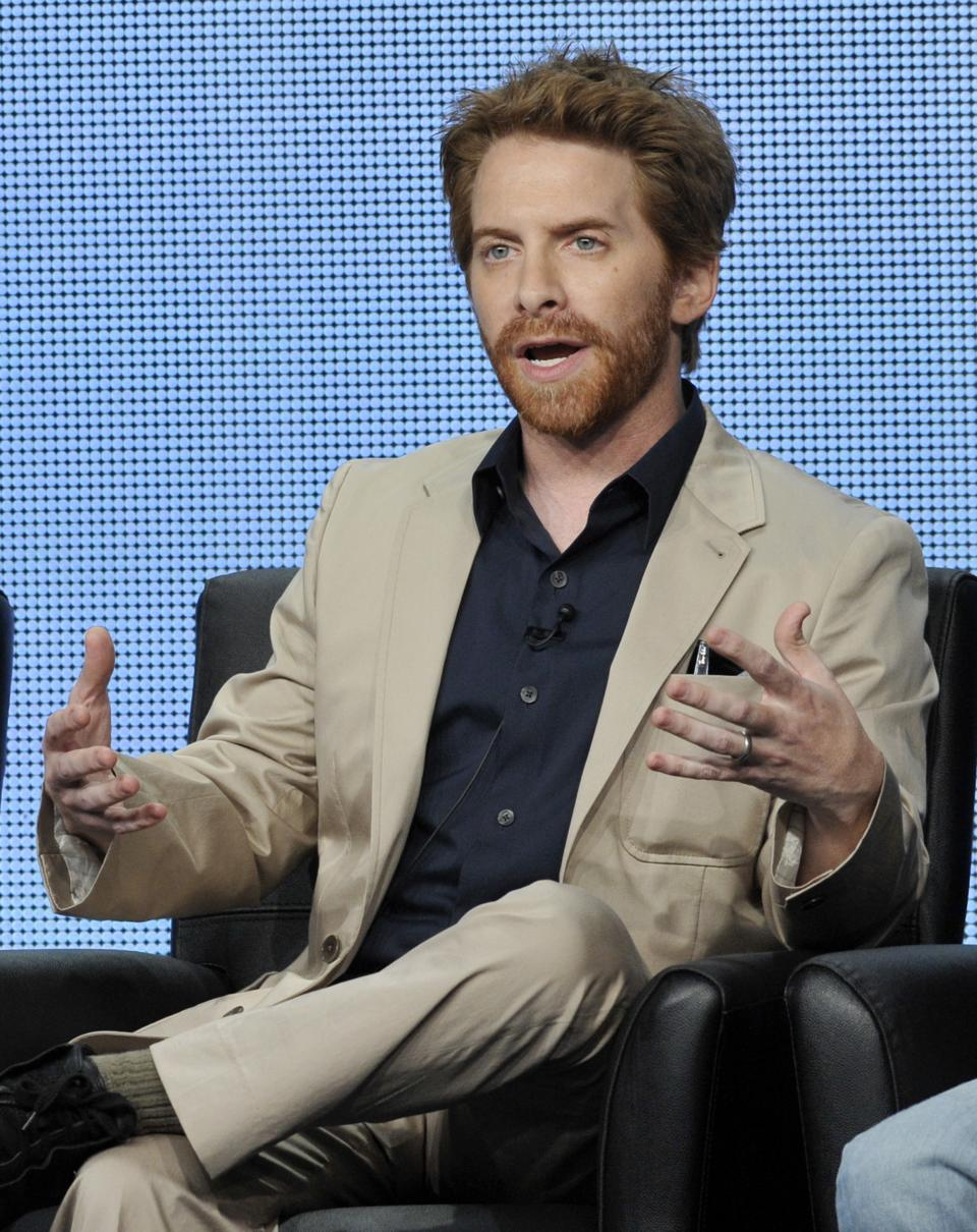 "Seth Green, a cast member in the FOX series ""dads,"" answers a reporter's question during a panel discussion on the show at the FOX 2013 Summer TCA press tour at the Beverly Hilton Hotel on Thursday, Aug. 1, 2013 in Beverly Hills, Calif. (Photo by Chris Pizzello/Invision/AP)"