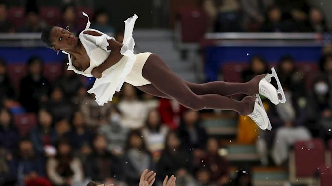 Vanessa James and Morgan Cipres of France perform during the free skating program at the ISU Grand Prix of Figure Skating in Nagano, Japan