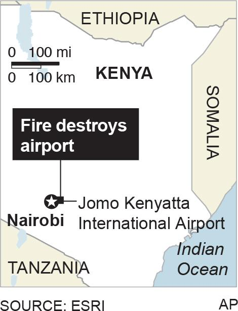 Map locates Jomo Kenyatta International Airport near Nairobi, Kenya; 1c x 2 inches; 46.5 mm x 50 mm;