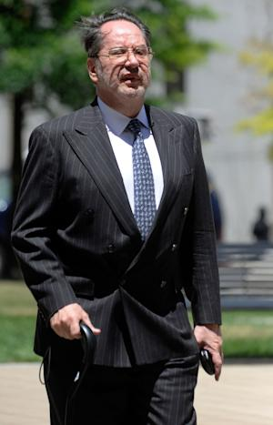 Presidential memorabilia collector Barry Landau arrives at federal court for his sentencing hearing in Baltimore Wednesday, June 27, 2012. He pleaded guilty in February to stealing thousands of documents from historical societies and libraries nationwide. (AP Photo/Steve Ruark)