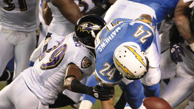 San Diego Chargers running back Ryan Mathews fumbles as he is hit by Baltimore Ravens cornerback Cary Williams during the first half of a NFL football game Sunday, Dec. 18, 2011 in San Diego. (AP Photo/Denis Poroy)