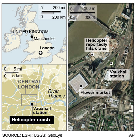Map locates where a helicopter crashed and killed at least two people in London
