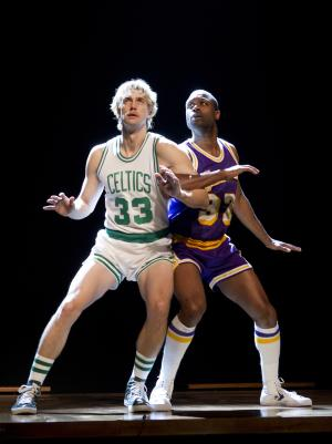 "This undated publicity image provided by Kirmser/Ponturo Group, LLC shows Tug Coker, as Larry Bird, left, and Kevin Daniels, as Earvin ""Magic"" Johnson, in a scene from ""Magic/Bird,"" a new play opening on Broadway on Wednesday, April 10, 2012. (AP Photo/Kirmser/Ponturo Group, LLC, Joan Marcus)"